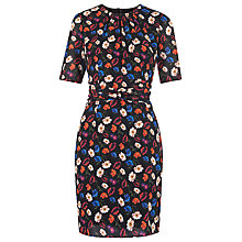 Buy Whistles Summer Pansy Print Bodycon Silk Dress, Multi Online at johnlewis.com
