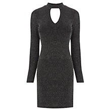 Buy Oasis Glitterball Notch Neck Dress, Silver Online at johnlewis.com