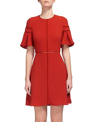 Whistles Estrella Fluted Sleeve Dress, Burnt Orange