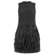 Buy Oasis High Neck Feather Dress, Black Online at johnlewis.com