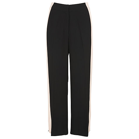 Buy Whistles Wide Side Stripe Crop Trousers, Black Online at johnlewis.com