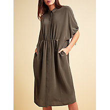 Buy Modern Rarity Tie Front Collar Dress, Dark Olive Online at johnlewis.com