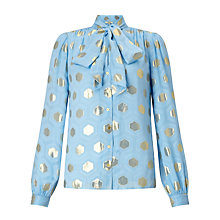 Buy Somerset by Alice Temperley Diamond Clipped Jacquard Tie Blouse, Cornflower Blue Online at johnlewis.com