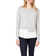 Buy Phase Eight Lorenza Woven Hem Jumper, Grey/White Online at johnlewis.com