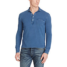 Buy Polo Ralph Lauren Custom Fit Featherweight Polo Shirt, Medium Indigo Online at johnlewis.com