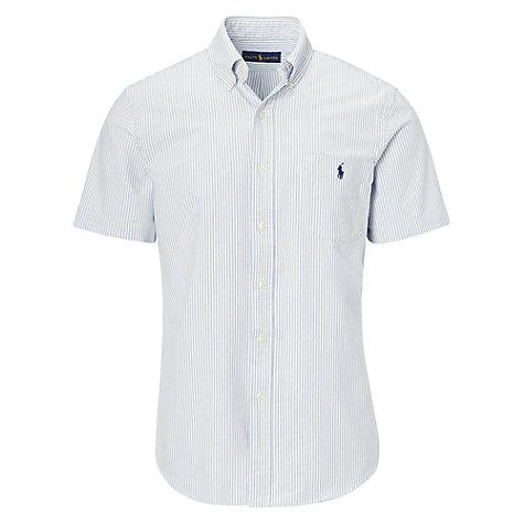 ... Buy Polo Ralph Lauren Standard Fit Short Sleeve Striped Oxford Shirt,  Blue/White Online ...