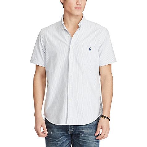 Buy Polo Ralph Lauren Standard Fit Short Sleeve Striped Oxford Shirt, Blue/ White Online ...