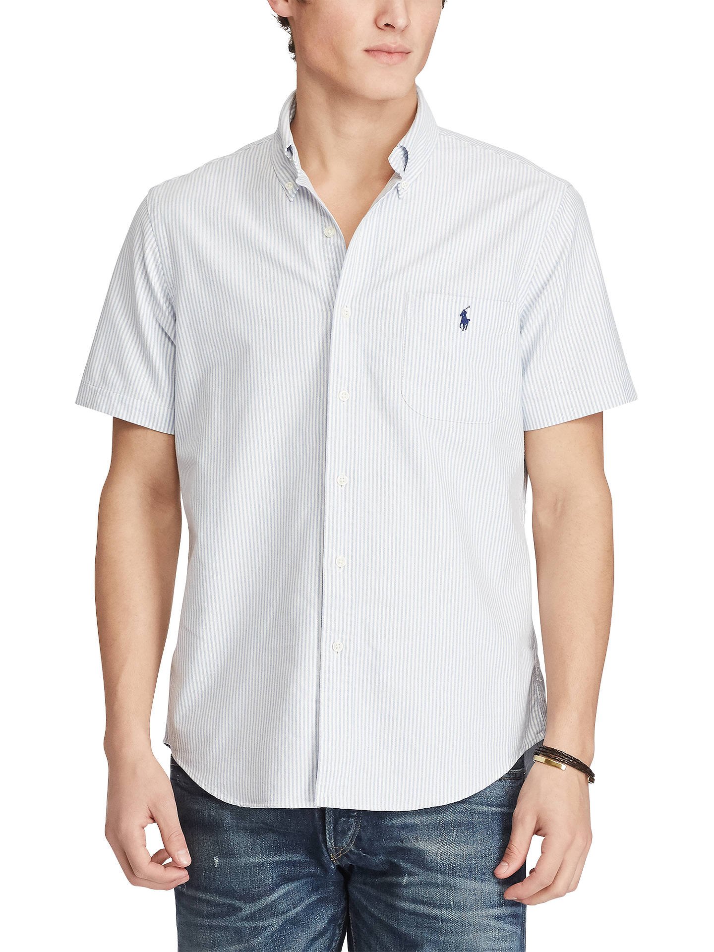 afb77810298a0 Buy Polo Ralph Lauren Standard Fit Short Sleeve Striped Oxford Shirt,  Blue/White, ...
