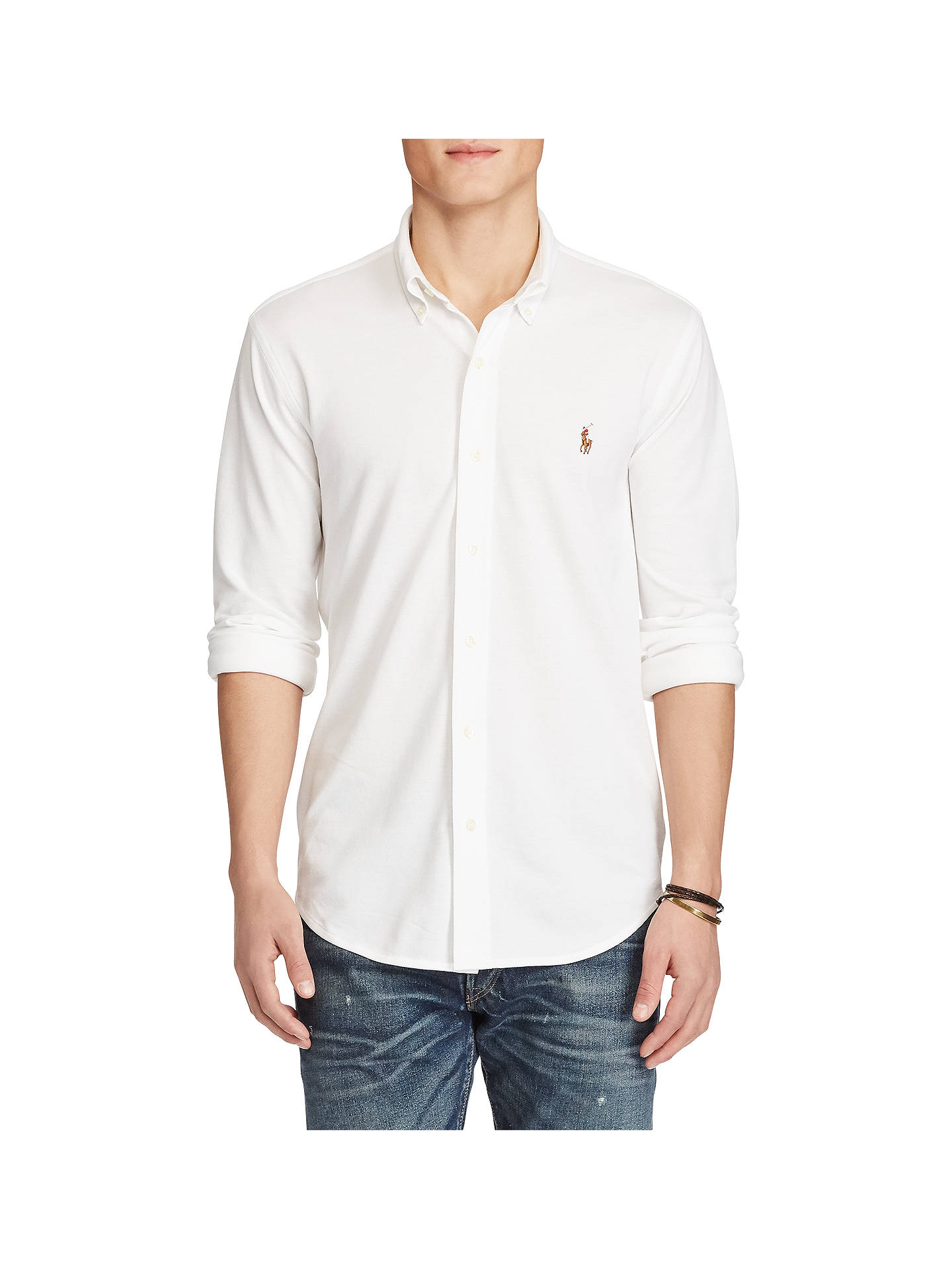 BuyPolo Ralph Lauren Knit Oxford Shirt, White, M Online at johnlewis.com ... f6d4b45f8804