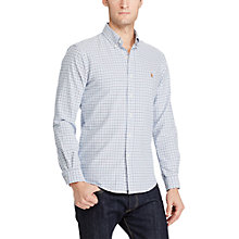Buy Polo Ralph Lauren Classic Fit Plaid Cotton Oxford Shirt, Blue/White Online at johnlewis.com