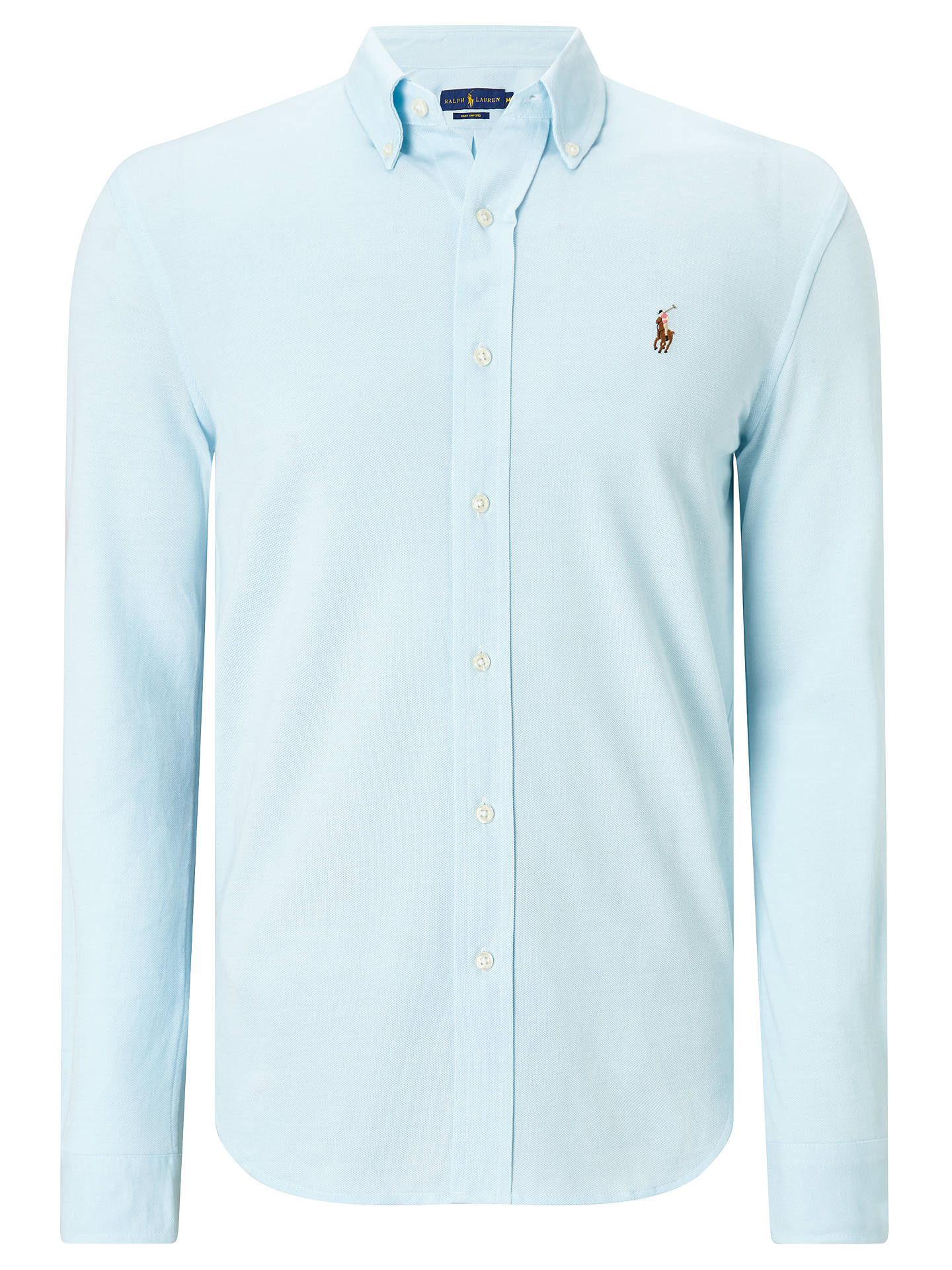 86ff9e98 Buy Polo Ralph Lauren Knit Oxford Shirt, Acadia Blue/White, S Online at ...