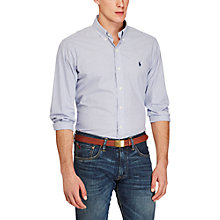 Buy Polo Ralph Lauren Poplin Button-Down Check Sports Fit Shirt, Blue/White Online at johnlewis.com