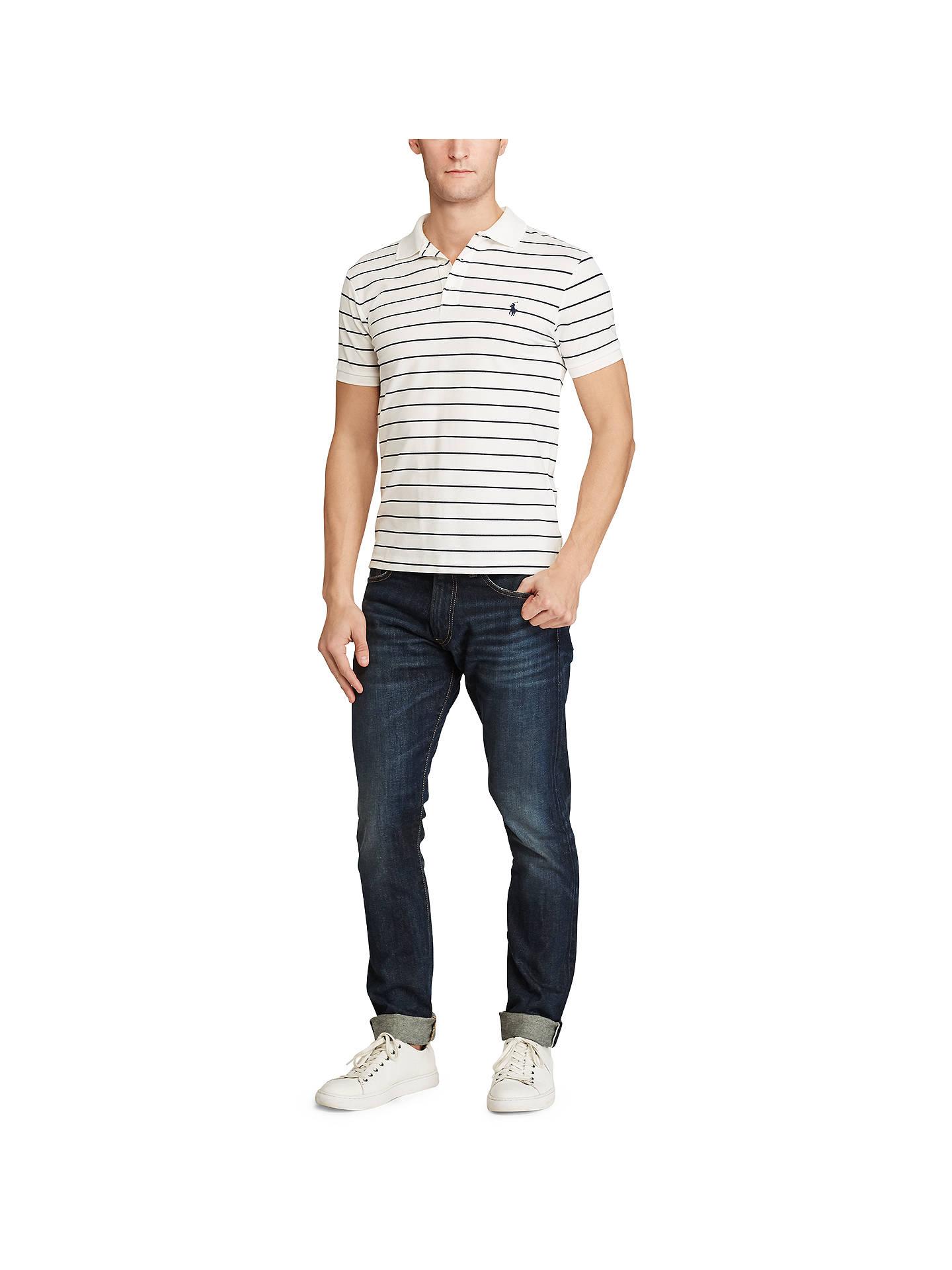 8718f400a ... Buy Polo Ralph Lauren Striped Slim Fit Stretch Cotton Mesh Polo Shirt