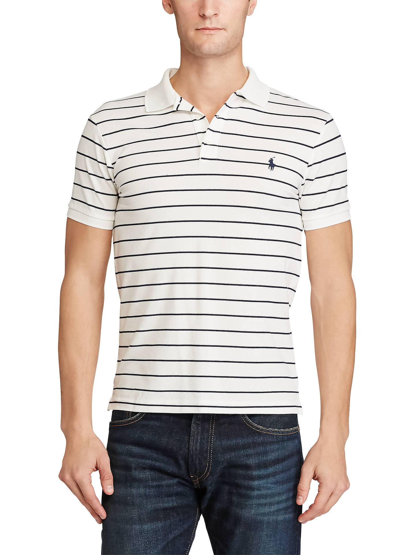 cc1d8c2f610f Buy Polo Ralph Lauren Striped Slim Fit Stretch Cotton Mesh Polo Shirt, White/Newport  ...