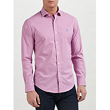 Buy Polo Ralph Lauren Slim Fit Check Cotton Poplin Shirt, Cherry Online at johnlewis.com