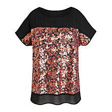 Buy Celuu Izzy Sequin Chiffon Blouse, Black Online at johnlewis.com