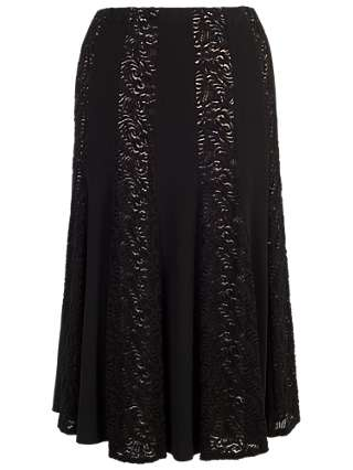 Chesca Lace And Jersey Panel Skirt, Black