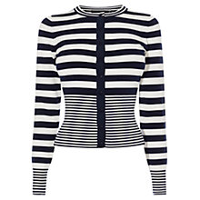 Buy Karen Millen Stripe Cardigan, Navy/White Online at johnlewis.com