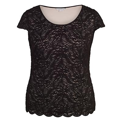 Chesca Scallop Trim Lace Top, Black