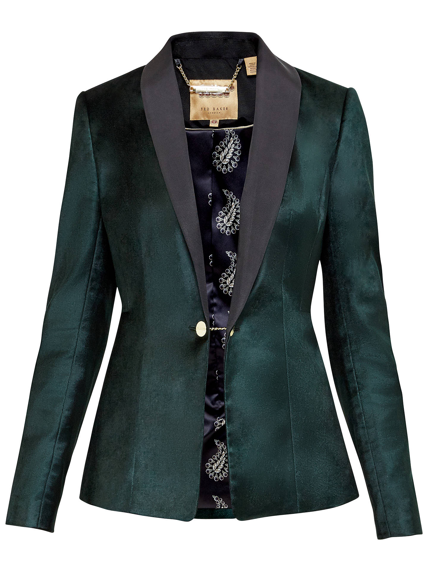 f77359e4c37 Buy Katcia Velvet Tuxedo Jacket, Jade, 0 Online at johnlewis.com ...