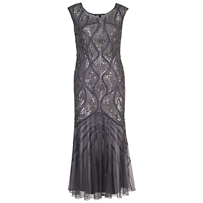Chesca Beaded Mesh Dress, Dark Grey