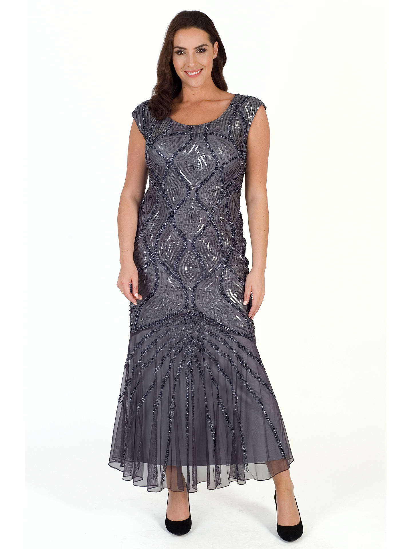 BuyChesca Beaded Mesh Dress, Dark Grey, 14 Online at johnlewis.com