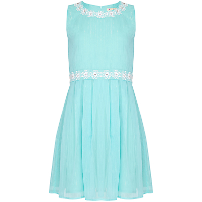 Yumi Girl Lurex Pinstripe Dress, Mint Green
