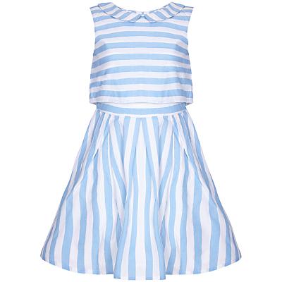 Yumi Girl Layer Stripe Dress, Pale Blue