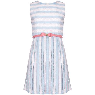 Yumi Girl Stripe Lace Dress, Pale Blue