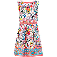 Buy Yumi Girl Tropical Tile Box Pleat Dress, Ivory/Multi Online at johnlewis.com