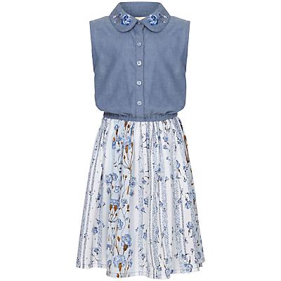 Yumi Girl Floral Chambray Dress, Blue