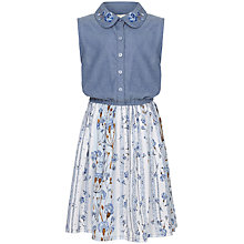 Buy Yumi Girl Floral Chambray Dress, Blue Online at johnlewis.com