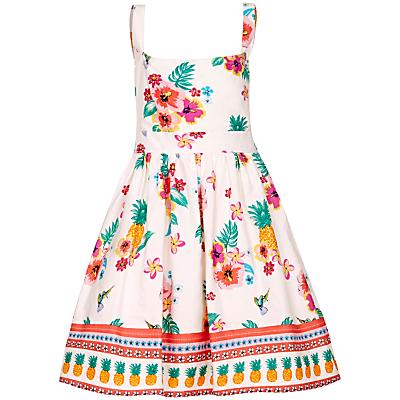 Yumi Girl Tropical Print Tie Dress, Cream/Multi