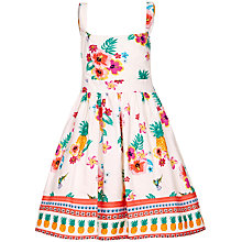 Buy Yumi Girl Tropical Print Tie Dress, Cream/Multi Online at johnlewis.com