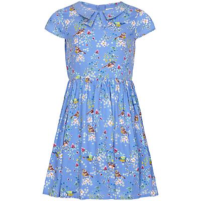 Yumi Girl Bird Print Tea Dress, Sky Blue