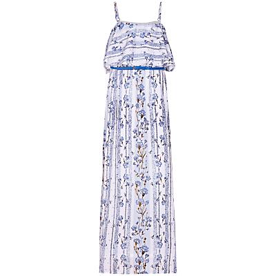 Yumi Girl Floral Stripe Maxi Dress, Pale Blue