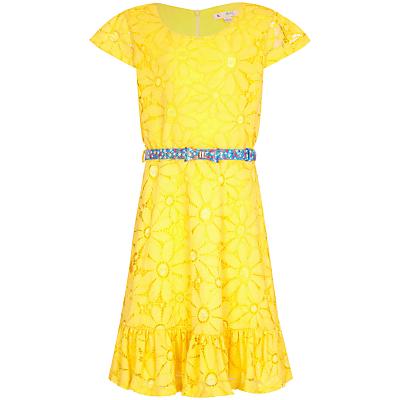 Yumi Girl Floral Lace Frill Dress, Yellow