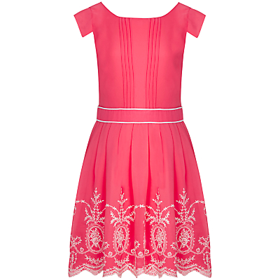 Yumi Girl Broderie Chiffon Dress, Coral