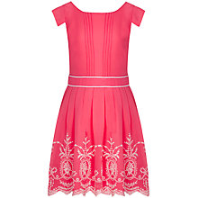 Buy Yumi Girl Broderie Chiffon Dress, Coral Online at johnlewis.com