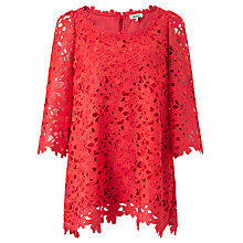Buy Somerset by Alice Temperley Lace Swing Top, Hot Coral Online at johnlewis.com