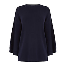 Buy Warehouse Fluted Sleeve Jumper, Navy Online at johnlewis.com