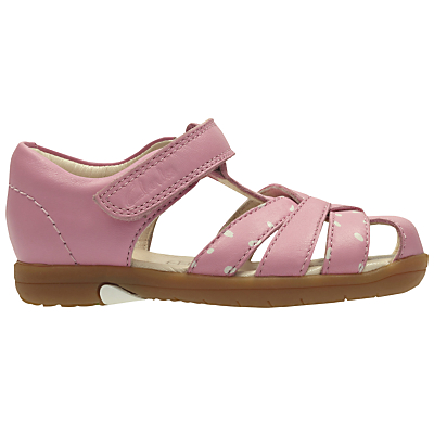 Clarks Children's Softly Mae Rip-Tape Sandals, Pink