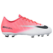 Buy Nike Children's Mercurial Vapor Lace Football Boots, Pink/White Online at johnlewis.com