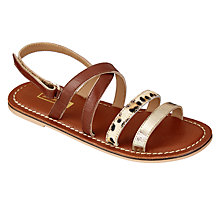 Buy John Lewis Animal Print Double Strap Sandals, Tan Online at johnlewis.com