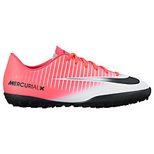 Buy Nike Children's Mercurial Vapor Turf Football Boots, Pink/White Online at johnlewis.com