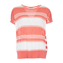 Buy Barbour Cape-Like Stripe Jumper, Coral/Cloud Online at johnlewis.com