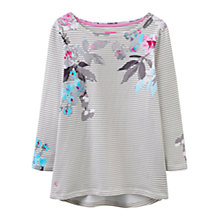 Buy Joules Harbour 3/4 Sleeve Printed Jersey Top, Grey Bloom Stripe Online at johnlewis.com