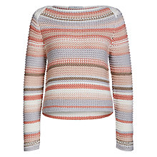 Buy Oui Chunky Knit Stripe Jumper, Rose/Black Online at johnlewis.com