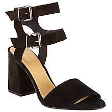 Buy John Lewis Joli Double Strap Block Heeled Sandals, Black Suede Online at johnlewis.com