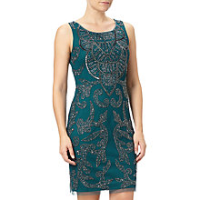 Buy Adrianna Papell Sleeveless Beaded Short Shift Dress, Hunter Green Online at johnlewis.com